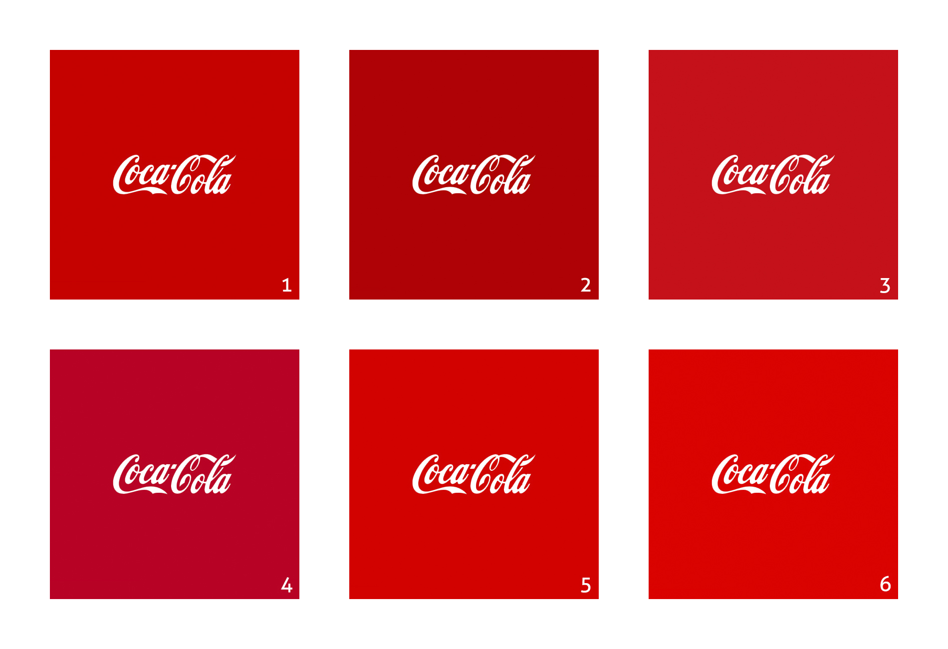 Different versions of Coca-Cola logo: 6 different versions of red